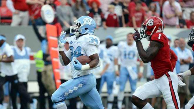 North Carolina Tar Heels running back Elijah Hood finds room to run.