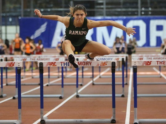 Grace O'Shea, of Ramapo, competes in the shuttle hurdles
