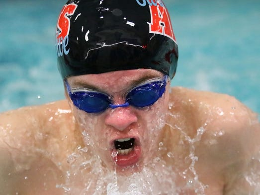 Arrowhead's Devin Post swims the Breast Stroke during