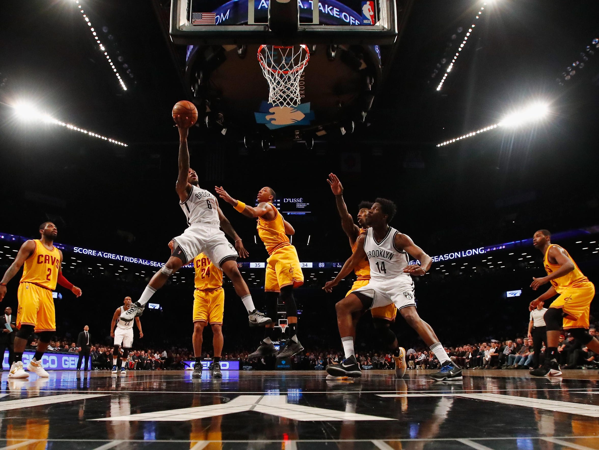 Sean Kilpatrick of the Nets shoots against the Cleveland