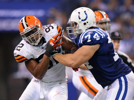Indianapolis Colt offensive lineman Anthony Castonzo,#74, blocks the Browns Jayme Mitchell,#92, during their game Sunday, September 18, 2011, afternoon at Lucas Oil Stadium. Matt Kryger / The Star