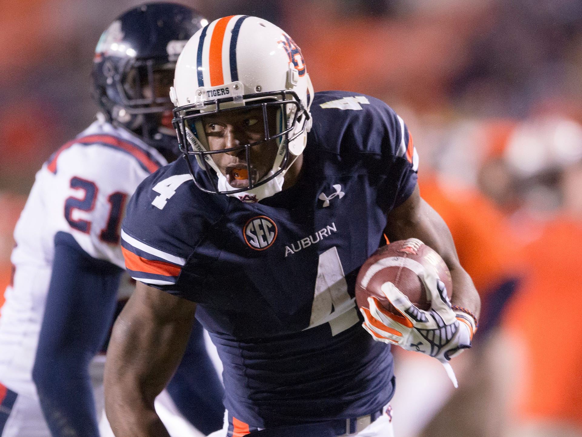 Auburn wide receiver Quan Bray had three carries for 45 yards and a touchdown and four receptions for 56 yards.