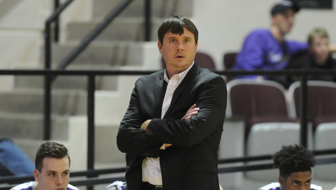 ACU coach Joe Golding watches as his team plays against Arlington Baptist. ACU beat the Patriots 109-60 in a nonconference game Tuesday, Dec. 19, 2017 at Moody Coliseum.