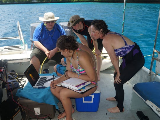 Philip McCleer (from left), Jamie Cool, Tyler Heeney, Jennifer Powers work during their recent trip to Palau in the South Pacific.