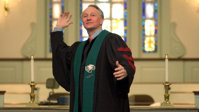 "Brig. Gen. Kenneth ""Ed"" Brandt is seen wearing a Philadelphia Eagles' stole in a 2005 file photo that was taken while he was a minister at the Red Clay Creek Presbyterian Church in Mill Creek."