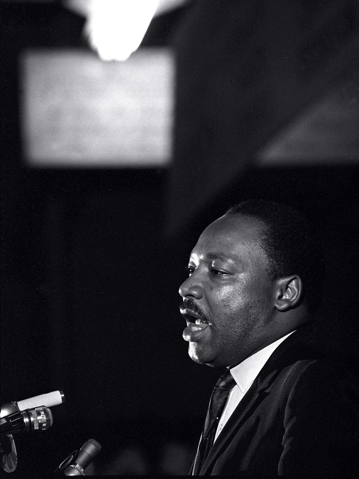 Dr. Martin Luther King Jr. makes his last public appearance at the Mason Temple in Memphis on April 3, 1968.