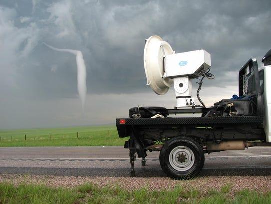 A University of Massachusetts radar truck observes