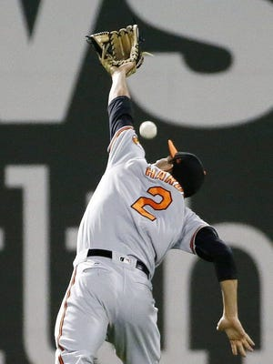 J.J. Hardy fails to make the catch on a pop, but this resulted in an odd triple play.