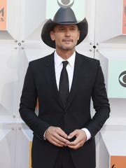 Tim McGraw poses on the red carpet at the 51st Academy of Country Music Awards at the MGM Grand Garden Arena on Sunday.