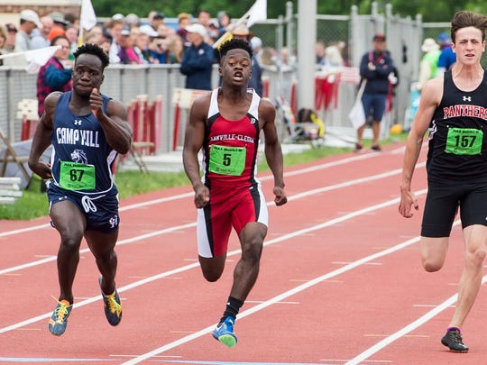 Annville-Cleona's Stanley Miller runs to a first-place finish in the boys' 2A 100 meter dash during the PIAA District 3 track and field championships at Shippensburg University on Saturday, May 20, 2017. Miller came in first place with a time of 11.19 seconds.