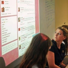 Anikka Schliesmann and Jamie Perry take a look at Twitter messages projected on the wall of English teacher Valerie Williams' ninth-grade classroom at Holy Trinity Episcopal Academy.