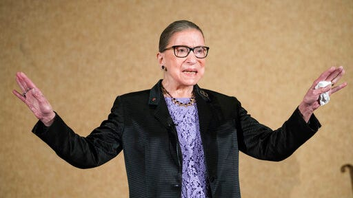 FILE - In this Aug. 19, 2016, file photo, Supreme Court Justice Ruth Bader Ginsburg is introduced during the keynote address for the State Bar of New Mexico's annual meeting in Pojoaque, N.M. The Supreme Court says Ginsburg has died of metastatic pancreatic cancer at age 87.
