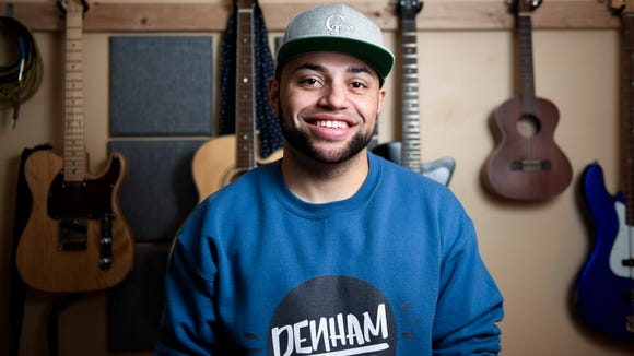 """Denham McDermott, a South Dakota native and Hip Hop/R&B artist, poses for a portrait on Jan. 23, 2018 in Sioux Falls, S.D. McDermott, whose stage name is Denham, recently released his album """"Diaries of Distress."""""""
