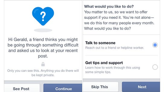 Facebook's new tools that expand the support and resources available for people contemplating suicide.