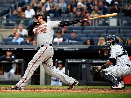 Baltimore's Matt Wieters watches his two-run home run