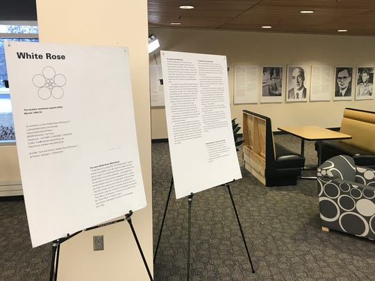 The White Rose exhibit is located on the First Floor West section of the James W. Miller Learning Resources Center at St. Cloud State University.