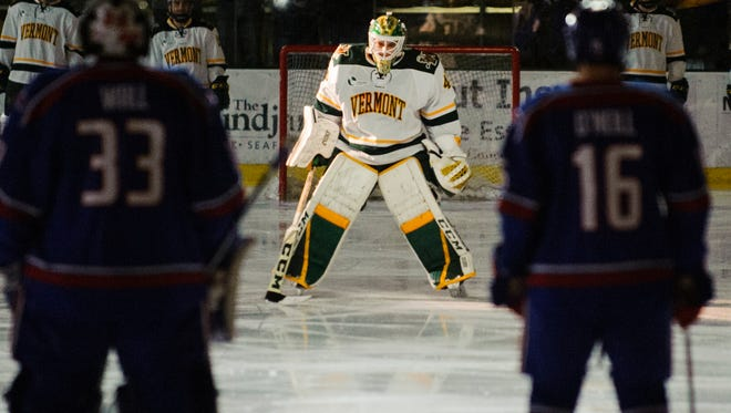 Vermont goalie Stefanos Lekkas (40) during player introductions in the men's hockey game between the UMass-Lowell River Hawks and the Vermont Catamounts at Gutterson Fieldhouse on Friday night January 19, 2018 in Burlington.