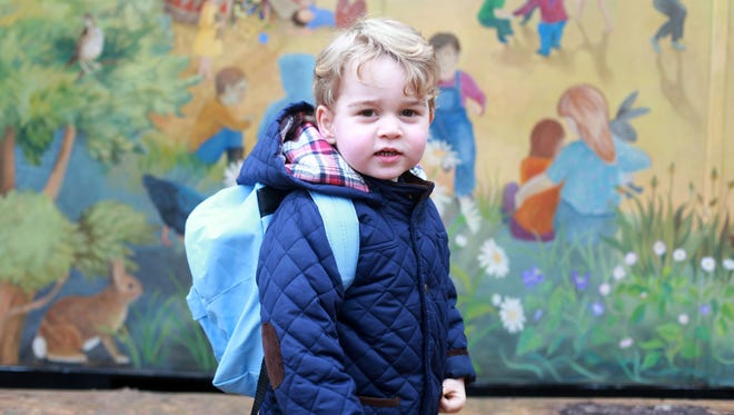 Prince George on his first day at nursery school in picture taken by his mother, Duchess Kate of Cambridge.