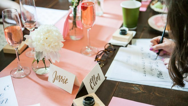 RSVP to a love notes calligraphy workshop on February 7, 2018.