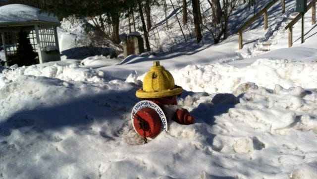 A fire hydrant in the snow on South Broadway in South Nyack, seen Feb. 17, after a string of snowstorms.