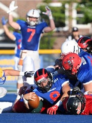 Bergen County Football All-Star Game at Lyndhurst High School on Friday, June 15, 2018. North #8 Dominic Patania, of Glen Rock, scores a touchdown in the first quarter.