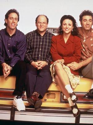 "From left: Jerry Seinfeld, Jason Alexander, Julia Louis-Dreyfus, and Michael Richards, cast of the TV Show ""Seinfeld."""