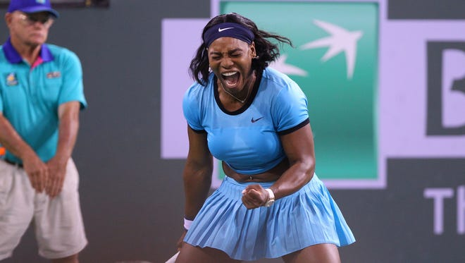 Serena Williams reacts during a tiebreaker during the second set of her semifinal match against Agnieszka Radwanska during the BNP Paribas Open on Friday.