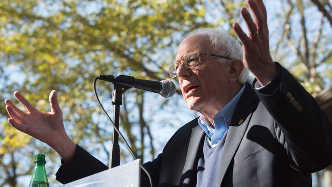 Bernie Sanders speaking outside the home of Gerhild Krapf in Iowa City. Sunday, October 18, 2015.