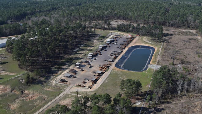 Clean Harbors Colfax, seen in this bird's-eye view, conducts open burning of hazardous waste at its facility in Grant Parish.