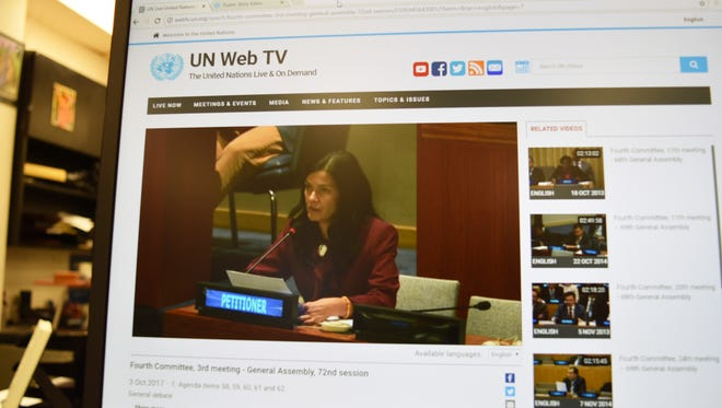 A livestream of United Nations' Fourth Committee's third meeting of the 72nd General Assembly shows Vice Speaker Therese Terlaje petitioning the U.N. committee, on the U.N.'s website.