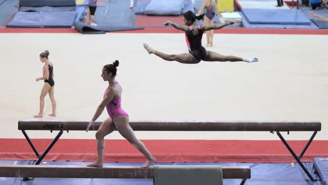 Aly Raisman, front, and Gabby Douglas at the Karolyi Ranch, the USA Gymnastics National Team Training Center in the Sam Houston National Forest north of Houston.