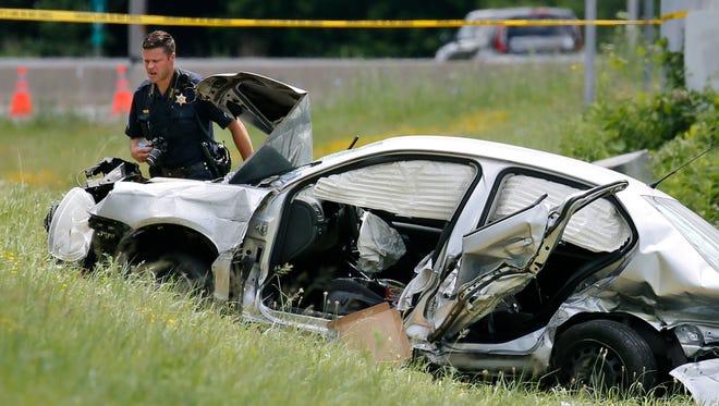 Police on scene of deadly crash on Wednesday.