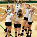 The CSU volleyball team celebrates a point Wednesday night against the San Jose State Spartans in Moby Arena. The Rams won 3-0 to clinch a share of the Mountain West title, their sixth in a row.