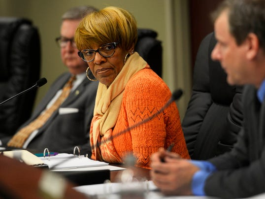 """York city countil president Carol HIll-Evans looks on as questions are asked during day two of the York city council budget meeting Wednesday, December 10, 2014. Kate Penn â """" Daily Record/Sunday News"""