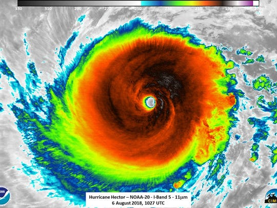 Hurricane Hector with 140-mph winds Aug. 6, 2018.