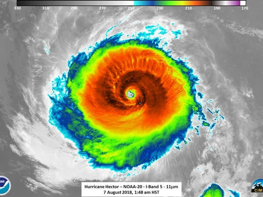 Infrared image of  Hurricane Hector, Aug. 7, 2018. On its current forecast track, the category 4 hurricane is expected to pass roughly 165 miles south of the Big Island of Hawaii Wednesday.