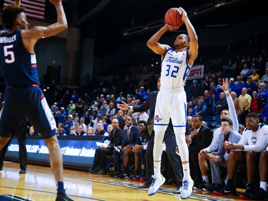 Tulsa's Corey Henderson Jr. hit eight 3-pointers against UConn on Wednesday. (Jessie Wardarski/Tulsa World via AP)