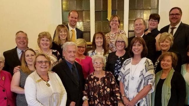 The newest members of the 1835 Livonia Hall of Fame, their presenters or representatives.