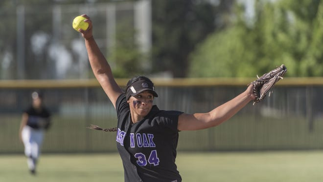 Mission Oak's Mariah Mazon pitches against Chowchilla in a Central Section Division IV semifinal softball playoff on Tuesday, May 23, 2017.