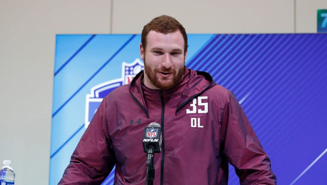 Mar 1, 2018; Indianapolis, IN, USA; Arkansas offensive lineman Frank Ragnow speaks to the media during the 2018 NFL combine at the Indianapolis Convention Center.