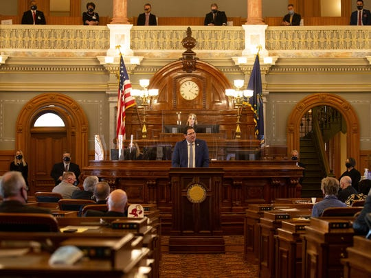 Kansas Speaker of the House Ron Ryckman, R-Oletha, addresses the chamber Monday in Topeka after taking his position.