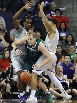 Utah Valley's Isaac Neilson (22) loses the ball after a double team from GCU's Kerwin Smith (21) and Keonta Vernon (24) in the first half at Grand Canyon University on January 7, 2017 in Phoenix, Ariz.