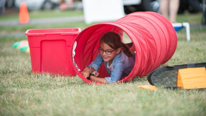 Jillian Roth, 7 of Penfield navigates the obstacle course during the Parenting Village Summer Bash held Sunday at Rothfuss Park in Penfield.