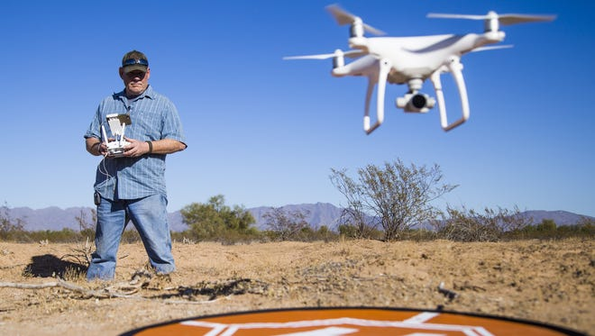 Randy Anglin, a forensics consultant and drone pilot, used his drone for aerial investigation in a remote area near Buckeye where Samuel Grider, a member of the Maricopa County Sheriff's Office posse, disappeared in 2014. Grider's pickup truck was found, but not Grider.
