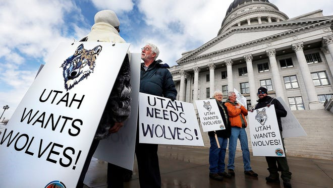 In this Jan. 14, 2016, photo, people gather before a news conference at the Capitol in Salt Lake City. Wildlife advocates chided state government leaders in four Western states on Thursday for trying to keep land out of a potential recovery zone for Mexican gray wolves, an endangered species. There are now more Mexican gray wolves roaming the American Southwest than at any time since the federal government began trying to reintroduce the predators nearly two decades ago. The annual survey released Friday, Feb. 17, 2017, by the U.S. Fish and Wildlife Service shows at least 113 wolves are spread between southwestern New Mexico and southeast Arizona, marking an improvement over the 97 wolves that were documented the previous year.