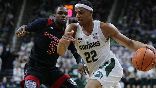 Miles Bridges drives against Rutgers defender Mike Williams on Wednesday at the Breslin Center.