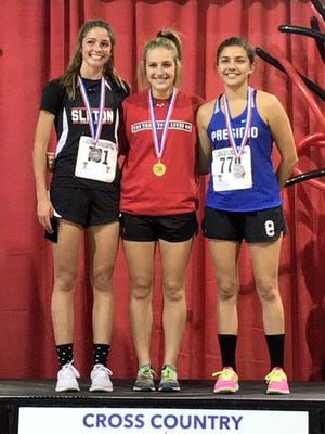 Ballinger's Sydney Bowman won the Region I-3A girls cross country individual championship Monday, Oct. 23, 2017, in Lubbock.