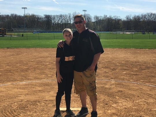 Former Belleville star Jamie Galioto (right) with his daughter Aryana. Aryana plays softball for Hanover Park and Jamie is the coach.