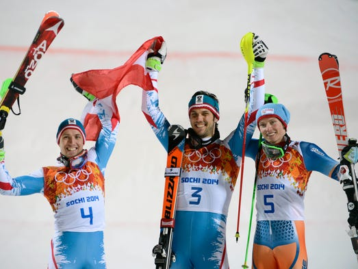 Mario Matt (AUT, 3) wins gold, Marcel Hirscher (AUT, 4) wins silver, and Henrik Kristoffersen (NOR, 5) wins bronze in men's alpine skiing slalom.