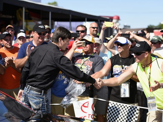 Erik Jones meets with fans during last year's NASCAR
